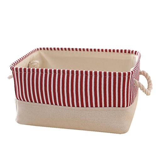 TcaFmac Small Decorative Fabric Storage Basket Bin Canvas Toy Storage Organizer Baby Laundry Basket
