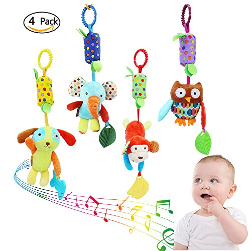 Girl Puppet Skin (4 Pieces Baby Hanging Rattle Toys - Newborn Car Crib Hanging Bell- Kids Stroller Handbells Puppet- Infant Animal Wind Chime with Teethers for Toddlers Baby Girls Baby Boys)