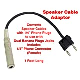 Performance Plus SCB12 Speaker Cable Adapter for Dual Banana to 1/4