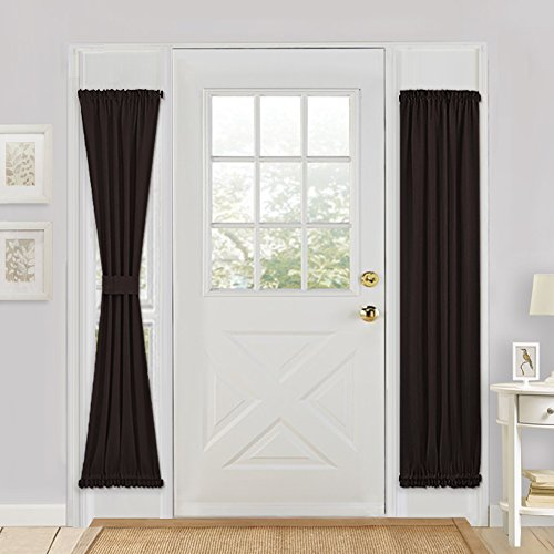 french door panel curtains black - 4