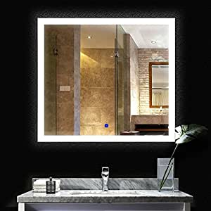 BATH KNOT Bathroom Backlit LED Large Vanity Mirror, Wall Mounted ETL White Light Mirror With 3 Intensity Light to Dimmer, 48 x 42 Inch