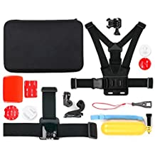 Action Camera 14-in-1 Extreme Sports Essential Accessories Bundle with Hard EVA Case for the SJCAM M10 Cube Mini, M10+, SJ X1000, SJ4000+, SJ5000+, SJ5000x Elite & SJ5000x - by DURAGADGET