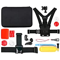 Action Camera 14-in-1 Extreme Sports Essential Accessories Bundle with Hard EVA Case - Compatible with the Midland H180 | H3 | H360 | H5 | H7 | XTC400 Action Camera - by DURAGADGET