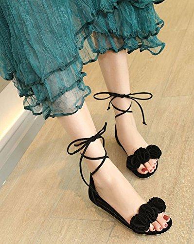 Aisun Women's Comfy Flowers Self Tie Sandals Black FZq4CsbsZt
