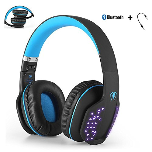 Foldable Bluetooth Headphone, YOCUBY Beexcellent Noise Cancelling Wired Gaming Headsets with Extensible LED light, [Xbox Ones PS4 needs the 3.5mm Audio Cable] (Black&Blue)
