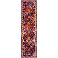 Safavieh Monaco Collection MNC244D Modern Bohemian Diamond Fuchsia Pink and Multi Runner (22 x 8)