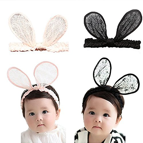 Cute Minnie Mouse Halloween Costumes (RQJ Baby Girls Rabbit Ear Lace Halloween Costumes Headband Bunny Elastic Minnie Mouse Ears Hair Hoop for Festival Gift(Black))