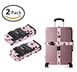 YEAHSPACE 2 Pack Pink Rabbbit Hat Luggage Straps Adjustable Travel Suitcase Baggage Belts With TSA 3-dial Combination Lock