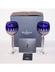 Waterford Crystal Clarendon Cobalt Blue Pair of Wine Hock Glasses