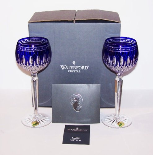 Waterford Crystal Clarendon Cobalt Blue Pair of Wine Hock Glasses by Waterford Crystal