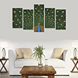 Hotel or Spa Personalized Design Peacocks Birds Feathers Colors Texture Canvas Print Home Fashion Mural Bedroom Oil Painting Decoration 5 Piece Canvas painting (No Frame)