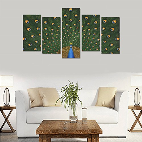 Hotel or Spa Personalized Design Peacocks Birds Feathers Colors Texture Canvas Print Home Fashion Mural Bedroom Oil Painting Decoration 5 Piece Canvas painting (No Frame) by sentufuzhuang Canvas Printing