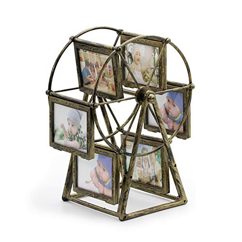 MLADEN Retro Vintage Family Photo Frame DIY Ferris Wheel Rotatable Windmill Picture Frames 5x3.5 inch Home Decor Gift Nostalgic Style (Brown) ()