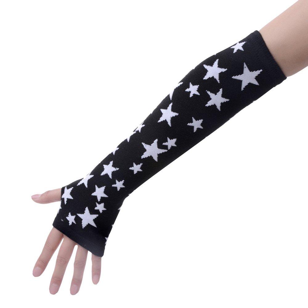 JISEN Black Punk Gothic Rock Knitted Soft Arm Warmer Fingerless Gloves CMG00439
