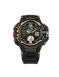 Diamondo Digital Sports Switch LED Electronic Wrist Watch (Black Gold Man Item)