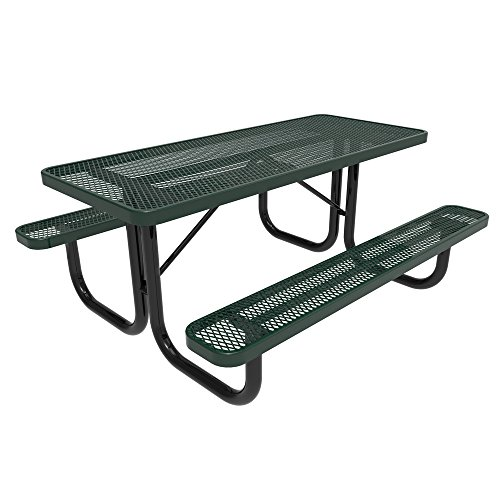 Coated Outdoor Furniture T8-GRN Rectangular Portable Picnic Table, 8 Feet, Green