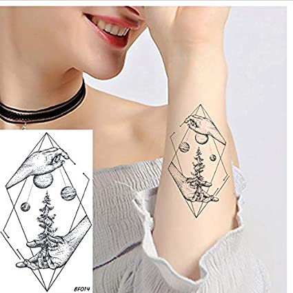 ruofengpuzi Creativo Mujeres Moda Diamante Árbol Planeta Tatuaje ...