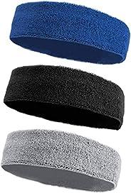 Mens Headband, Horuhue 3 Pack Men Athletic Sport Headband Soft Moisture Wicking Headband for Men Workout Sweat