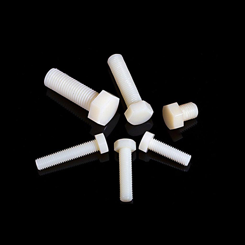 25 Boulons Vis /à T/ête Hexagonale En Plastique Vis Hexagonales Blanches Application Int/érieur//Ext/érieur Lot de 10pcs M10