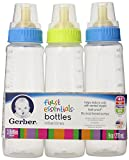 Gerber First Essential Clear View Plastic Nurser With Latex Nipple, BPA Free, Assorted Colors, 3 Pack