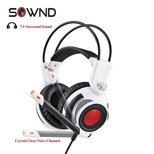 Light Moda Two - Sownd Gaming Headset 7.1 Surround Sound with HD Stereo Amplified Bass Built in Vibration Flexible Headband Noise Isolating LED Light USB PC/Mac model 869 (White)