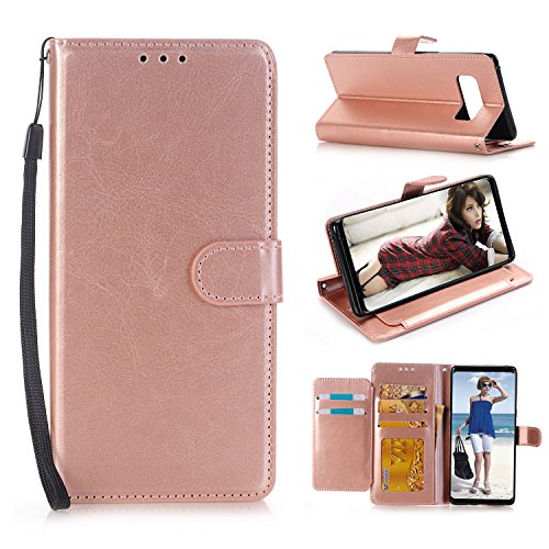 Galaxy Note8 Wallet Case,TOPBIN [Stand Feature] 5 Card Slots Credit Card Holder Flip Case Cover [Card Slot + Side Pocket] For Samsung Galaxy Note 8 (Rose Golden)