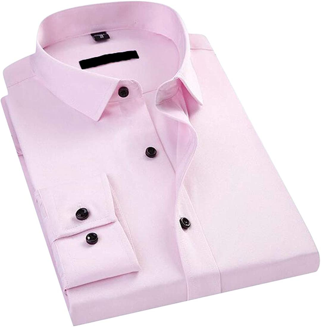 GRMO Men Long Sleeve Stretchy Business Button Up Slim Fit Dress Shirt