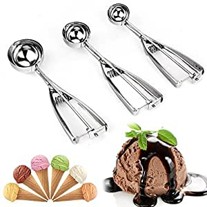 MZR-055 Ice Cream Scoop - Solid Stainless Steel Ice Cream Scoop With Trigger Cookie - Melon Scoop Spoon Set Small - Medium - Large - 3 Count .