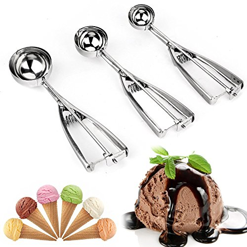 MZR-055 Ice Cream Scoop - Solid Stainless Steel Ice Cream Scoop With Trigger Cookie - Melon Scoop Spoon Set Small - Medium - Large - 3 Count . (Summer Breeze Vanilla Cream)