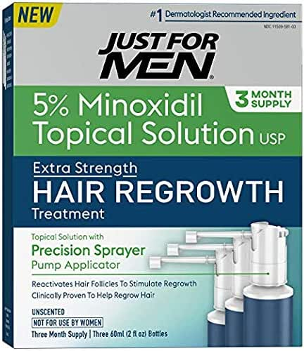 Just for Men Minoxidil Extra Strength Hair Loss Regrowth Treatment with Precision Sprayer, 6 Ounces (6 Month Supply)