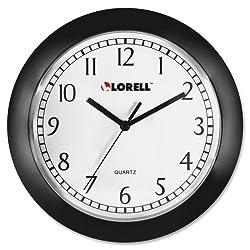 Lorell 60987 Wall Clock, 9-Inch, Arabic Numerals, White Dial/Black Frame
