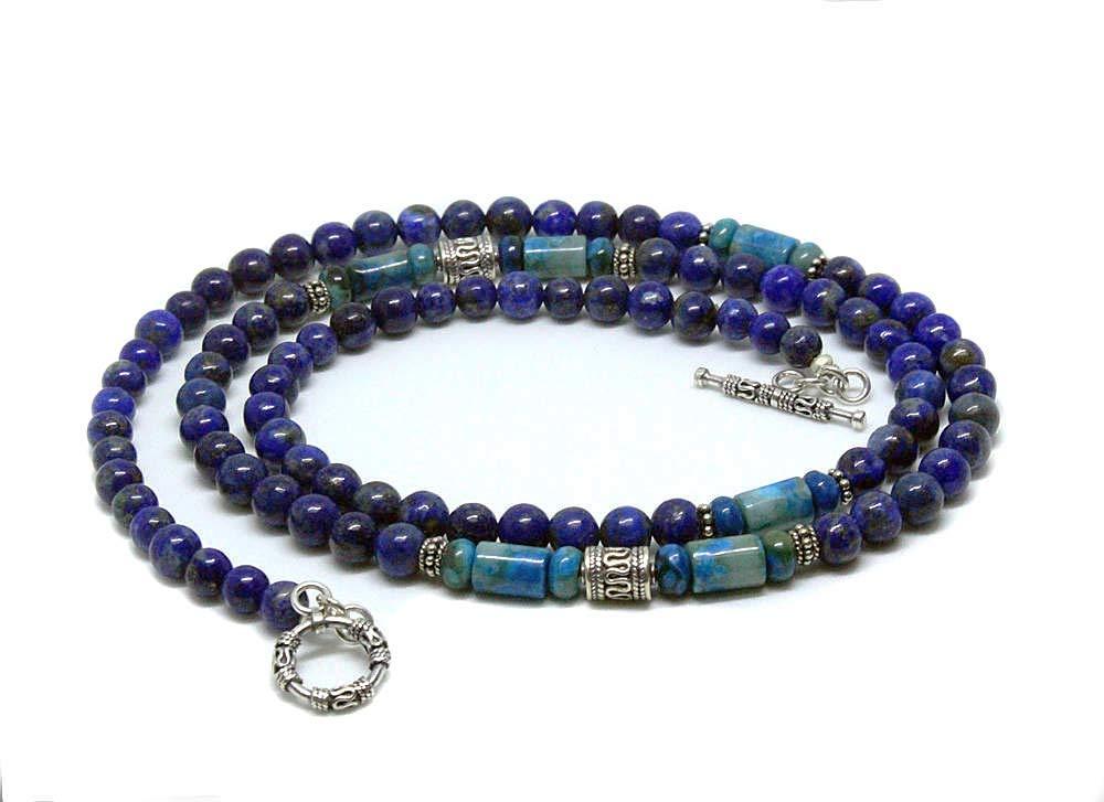 Mens Beaded Necklace Men/'s Lapis Lazuli Necklace