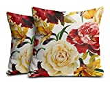 Mukesh Handicrafts Flowers Jute Fabric Cushion Cover Set Of 2 - Size (12X12 Inches)