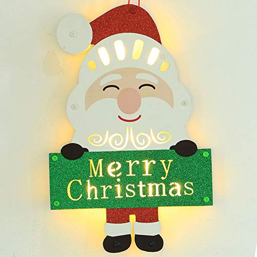VT BigHome Christmas Tree Hanging Ornaments LED Wooden Santa Claus House Hotel Bar Decor Christmas Night Light for ping -