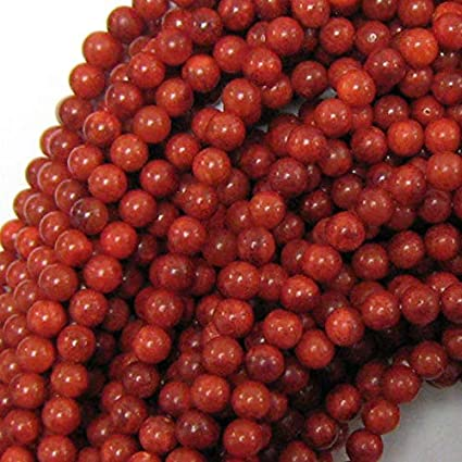 Red Sponge Coral Round Beads 12-13mm 6 Beads