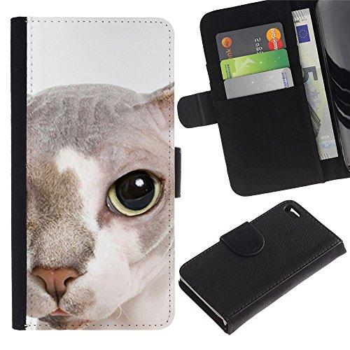 TaiTech / Housse Coque étui Etui en cuir - Peterbald Bambino Cat Hairless Face - Apple Iphone 4 / 4S