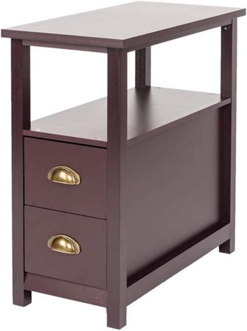 SoSo-BanTian1989 Sofa Side End Table,Coffee Table with Drawer and Shelf, Narrow Nightstand for Living Room