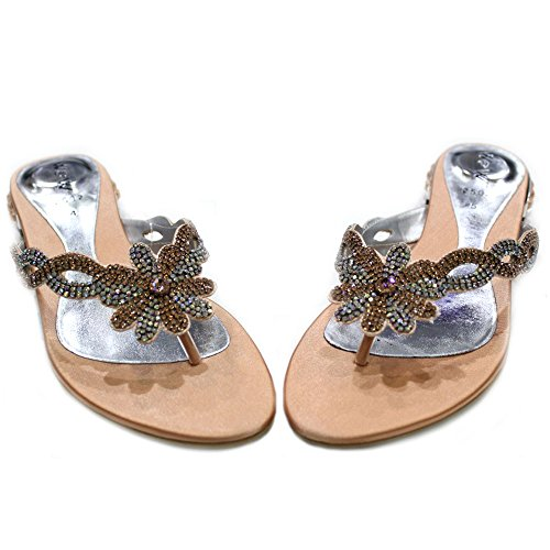 Wear Walk Party Lightweight Ladies UK Women Super Evening amp; Diamante Sandals SAN2502 W Comfort Shoes Peach amp;W rUvOqxrw5