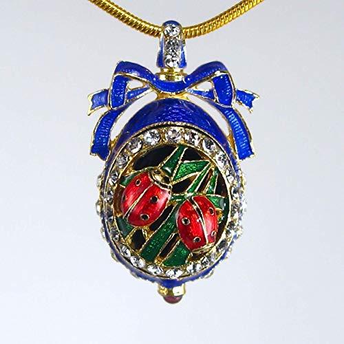 Sterling Silver Necklace Blue Guilloché Enamel Ladybugs Egg Pendant Genuine Garnet Swarovski Crystals 24k Gold Plate Chain