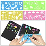POKONBOY 16 Pack Scratch Arts and Crafts Notebooks, Scratch Note Pads for Kids Rainbow Party Favors Coloring Books for Kids Art Party Supplies Stocking Stuffers(16 Wooden Stylus & 4 Drawing
