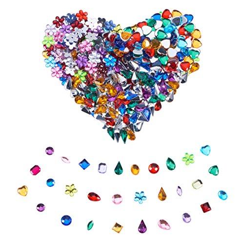 (PandaHall Elite 1000 Pcs Gems Acrylic Craft Jewels Flatback Rhinestones Gemstone Cabochons Embellishments Mixed Color)