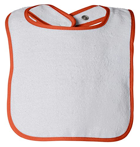 (Rabbit Skins Infant Cotton Terry Snap Bib, WHITE/ORANGE, One Size )