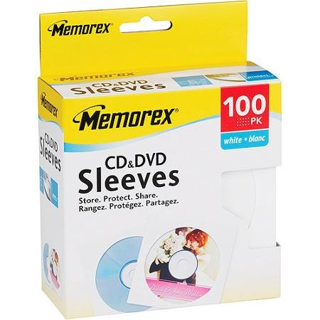 Memorex CD DVD White Paper Sleeves with Clear Window (32021961) 100 Pack