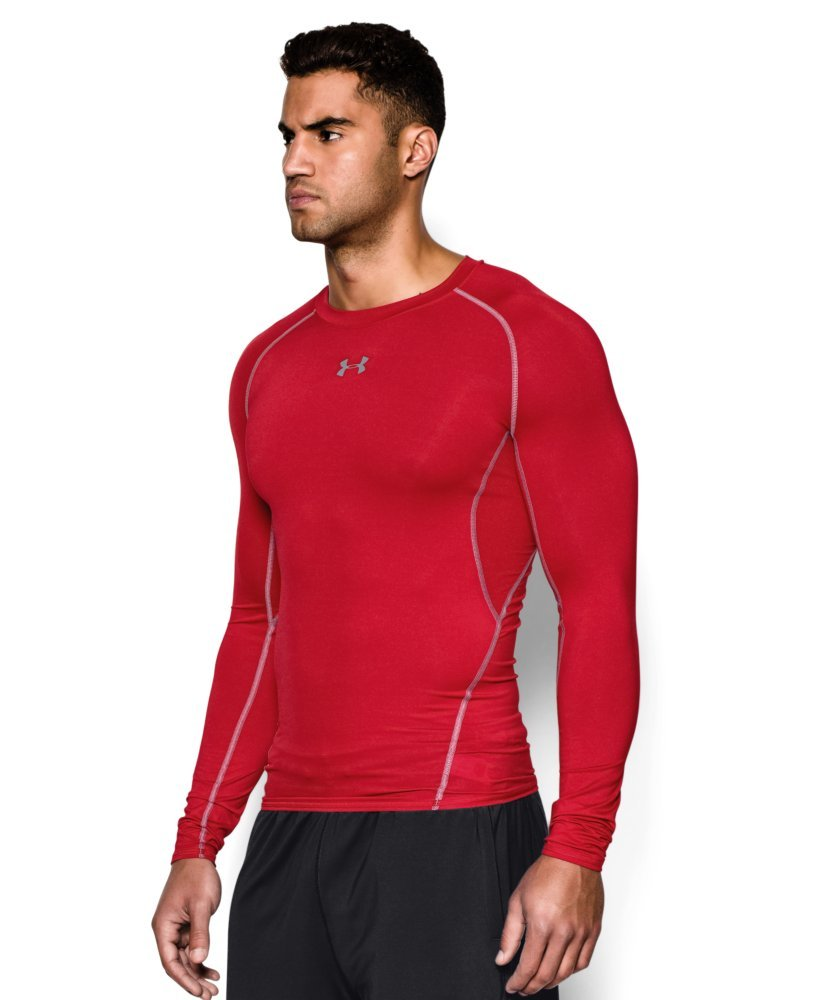 Under Armour Men's HeatGear Long Sleeve Compression Shirt, Red (600)/Steel Small by Under Armour (Image #3)