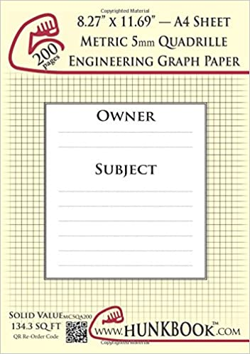 engineering graph paper 200pages cream metric 5mm quadrille a4