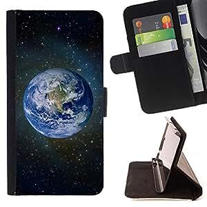 BullDog Case - FOR/Samsung Galaxy Note 4 IV / - / Planet Earth Space Photo /- Monedero de cuero de la PU Llevar cubierta de la caja con el ID Credit Card Slots Flip funda de cuer