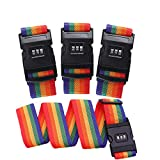 Luggage Straps FJSM 4 Pack Travel Luggage Strap Suitcase Lock Belt Strap Luggage Straps Suitcase Belts Adjustable Suitcase Lock Belt Rainbow Color For Traveling Business Trip