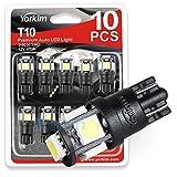 194 LED Light bulb, Yorkim® 6th Generation, Non-Polarity,12V Lights for 168, 2825,T10 5-SMD LED Bulb (Pack of 10)
