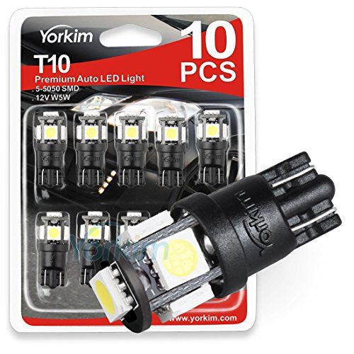 194 LED Light bulb, Yorkim? 6th Generation,12V Lights for 168, 2825,T10 5-SMD LED Bulb, Replacement and Reverse White Bulbs,Used For Signal Lights, Trunk Lights, Dashboard Lights, Parking Lights, With Great Brightness and Longer Life(Pack of 10)
