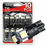 194 LED Light bulb, Yorkim? 6th Generation,12V Lights for 168, 2825,T10 5-SMD LED Bulb, Replacement and Reverse White Bulbs,Used For Signal Lights, Trunk Lights, Dashboard Lights, Parking Lights, With Great Brightness and Longer Life(Pack of 10) (T10, White)